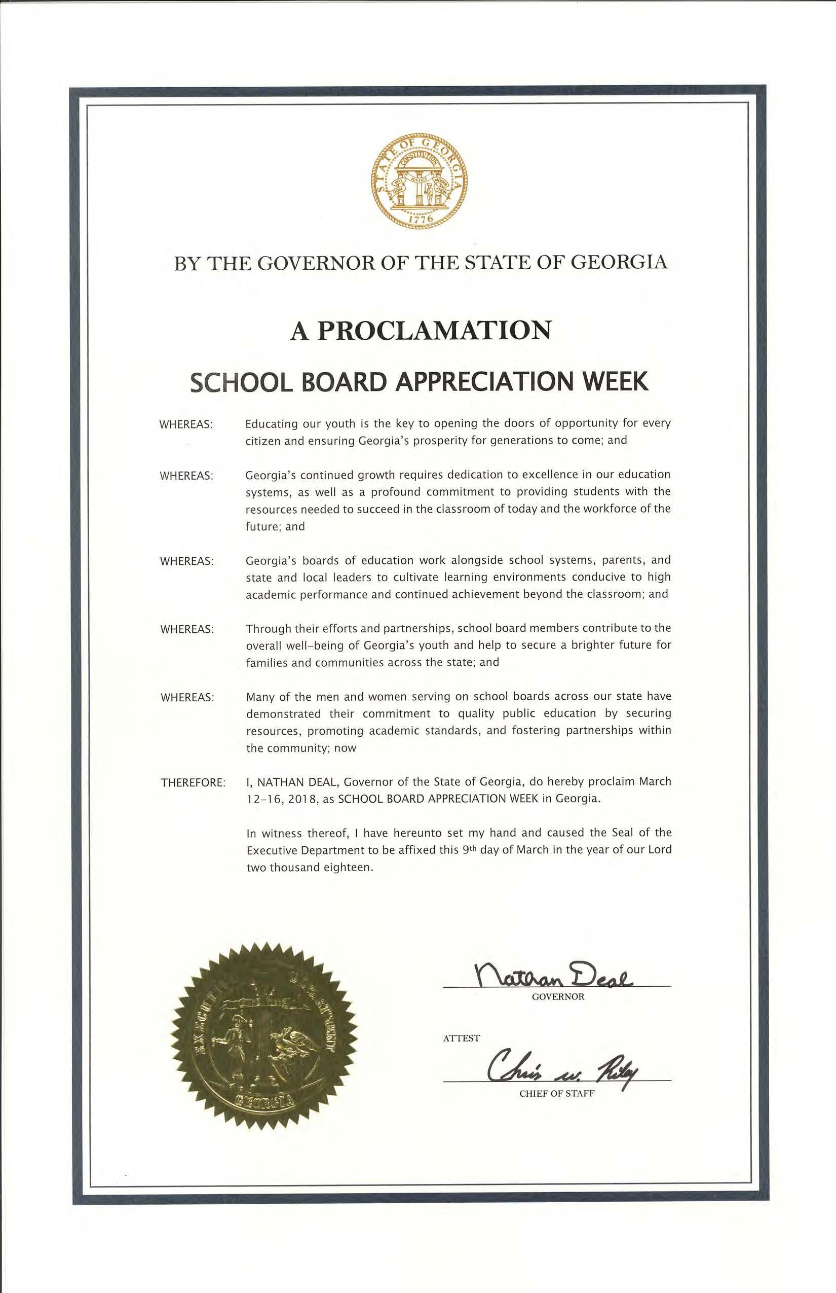 Govn Proclamation 2018 School Board Apprec Week Georgia School